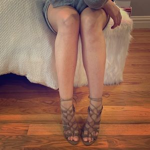 Forever 21 Taupe Natural Faux Suede Lace Up Heels